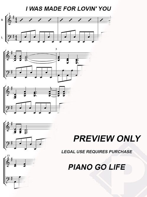 Kiss - I Was Made For Lovin' You Sheet Music