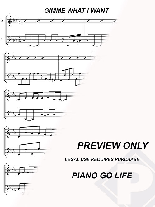 Miley Cyrus - Gimme What I Want Sheet Music