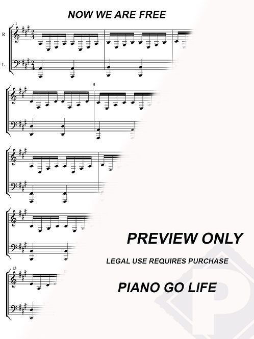 Gladiator - Now We Are Free Sheet Music