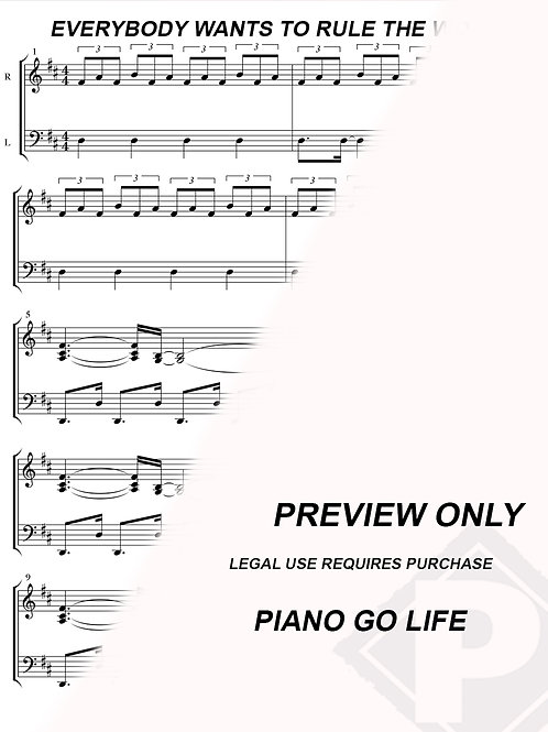 Tears For Fears - Everybody Wants To Rule The World Sheet Music