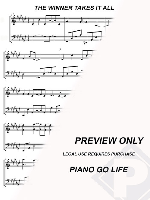 ABBA - The Winner Takes It All Sheet Music