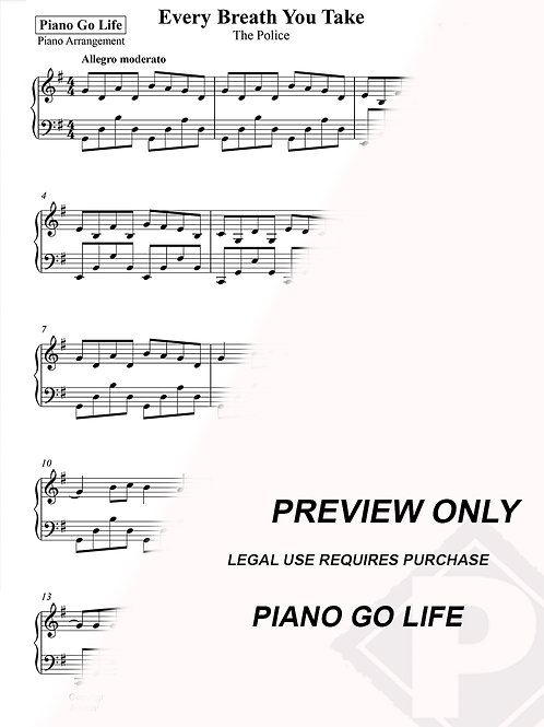Every Breath You Take - The Police / Sting Sheet Music