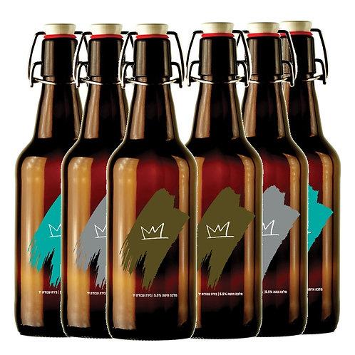 """שישית בירה מלכה 750 מ""""ל עם פקק לשימוש חוזר"""