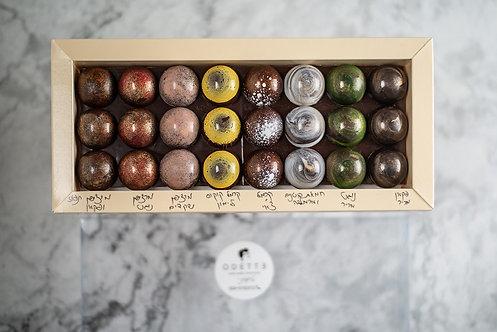 מארז 24 פרלינים על מצע שוקולד מריר (טבעוני)