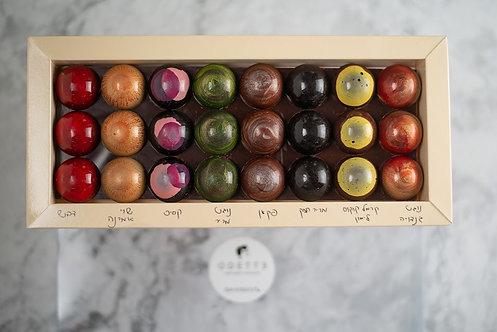 מארז 24 פרלינים על מצע שוקולד