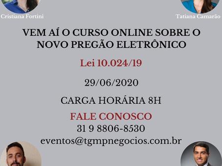 """CURSO """"LEI 10.024/19 NOVO PREGÃO ELETRÔNICO - MUDANÇAS E IMPACTOS"""" COM CRISTIANA FORTINI"""