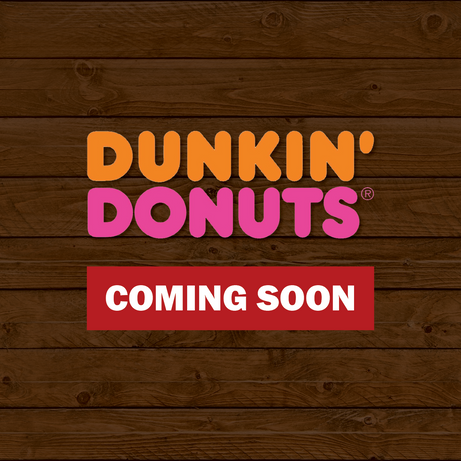 dunkin donuts logo on wood coming soon.p