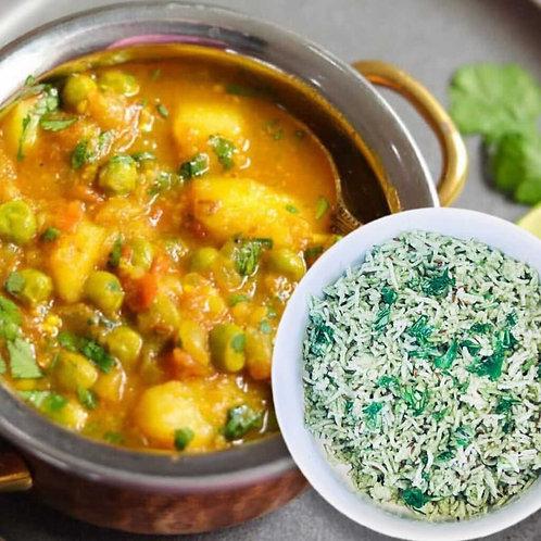 Vegan/GF Aloo Mattar Curry with Green Herbed Rice