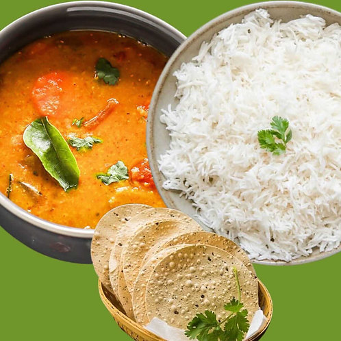 Vegan/ White Rice & Sambar (South Indian Spiced Lentil & Vegetable Stew) with 1