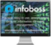 Infoboss logo with descriptive text and contact information