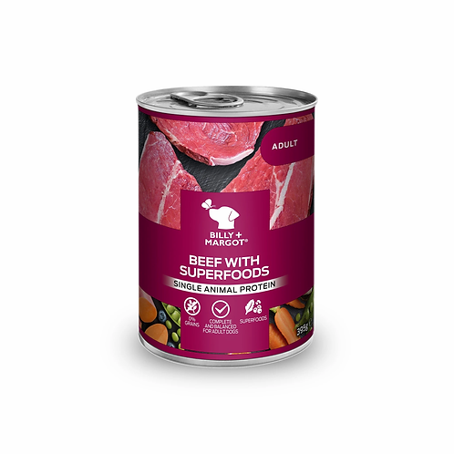Billy + Margot Beef with Superfoods Wet Dog Food Canned 395g