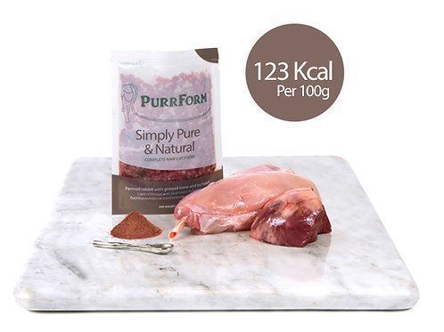 Minced Farmed Rabbit with Ground Bone with Ox Heart (Adult Cat)