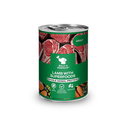 Billy + Margot Lamb with Superfoods Wet Dog Food Canned 395g
