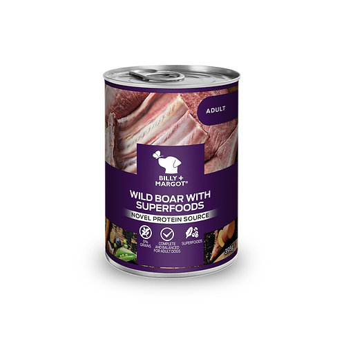 Billy + Margot Wild Boar with Superfoods Wet Dog Food Canned 395g