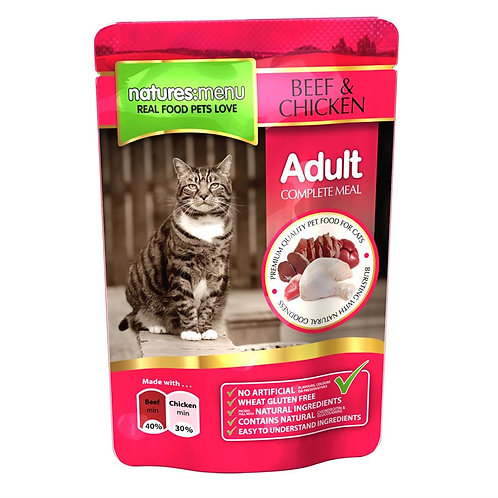 NATURES MENU CAT POUCHES  BEEF AND CHICKEN FOR ADULT CATS