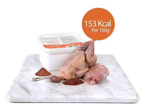 Minced Quail, Farmed Rabbit, Ground Bone with Liver & Kidney (Adult Cat)