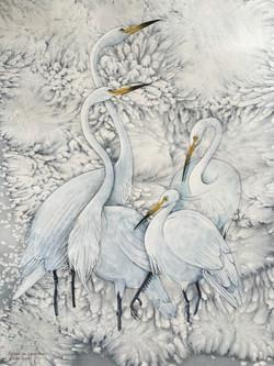 Herons in a Snow storm - Linda Owen