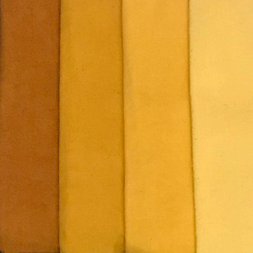 Cherrywood Fabric, 4 fat quarters, Yellow Tones, Hand Dyed Cotton Fabric, Lion K