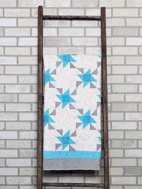 PDF Quilt Pattern, Friendship Stars Baby Quilt Pattern , Crib Size, Blue