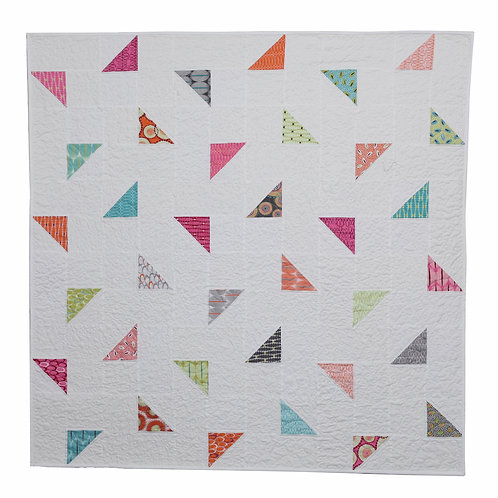 """PDF Colorful Modern Triangles Baby Quilt Pattern, 48"""" Square, for beginners"""