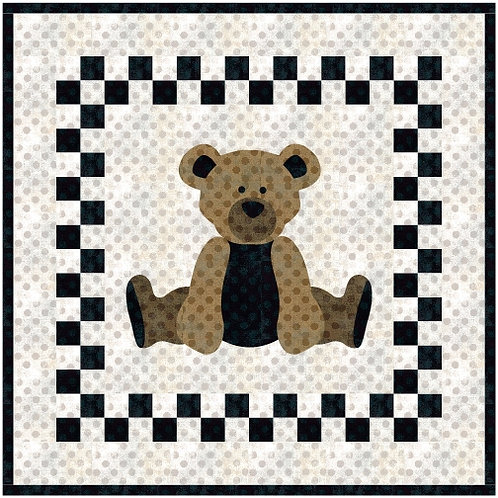 PDF Quilt Pattern Modern Bear Applique' and  Patchwork,  Crib Size.