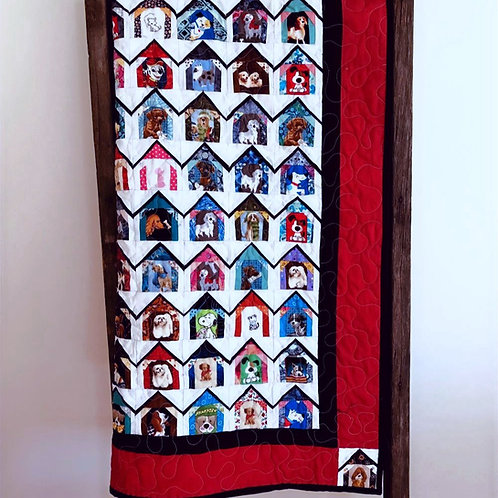 "PDF Pattern | Kid's Quilt | 365 Dog Houses ,  Throw size 65"" square"