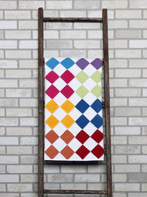 PDF Pattern,  Modern Patchwork Baby Quilt  with Step-By-Step directions