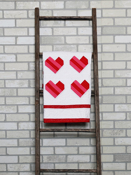 PDF Quilt Pattern, Baby Quilt Pieced Hearts | Crib Size, Step by Step Directions
