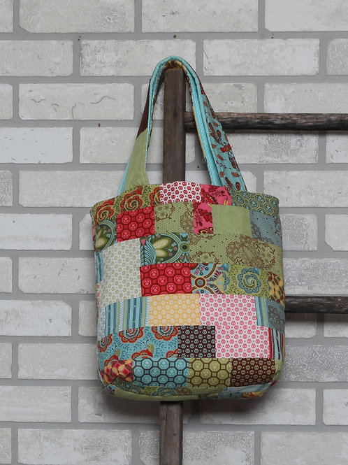 """Quilt Bag Pattern using jelly roll strips,  tote size 12"""" x 12"""", pdf download"""