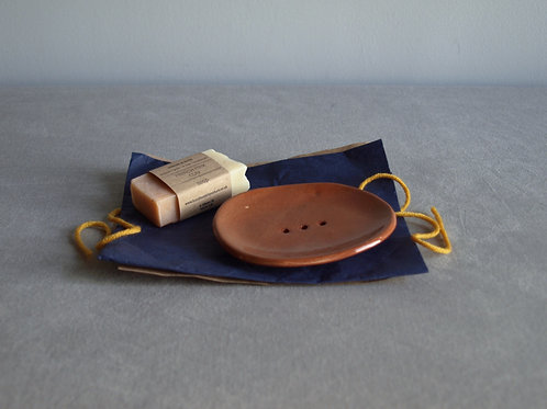 Terracotta soap dish and soap bundle