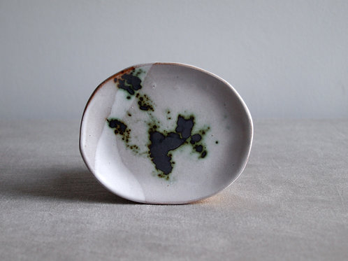 Asymmetric green and grey dish