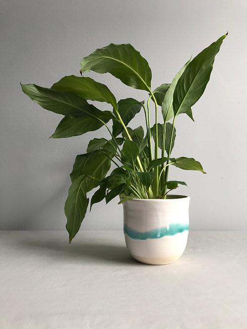 Planter turquoise drip
