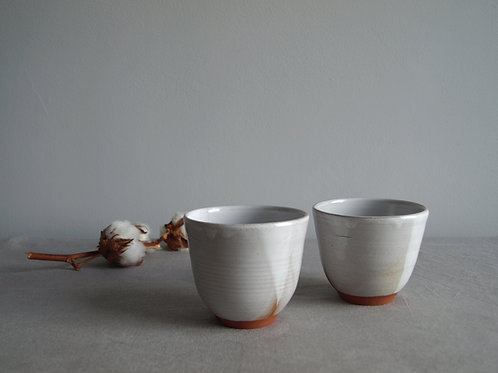 Pair of cups white grey