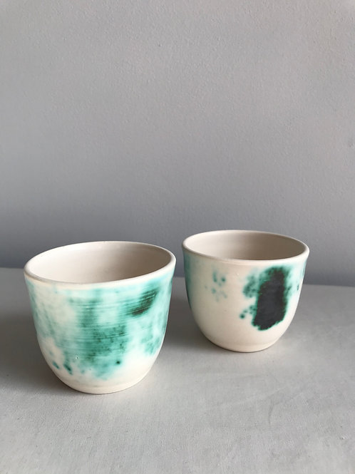 Pair of cups green & black