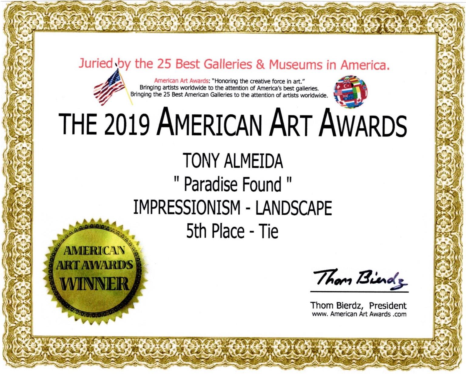 American Art Awards Certificate