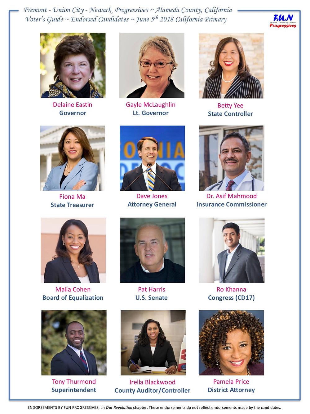 Fremont - Union City - Newark Progressives - Alameda County, CA  Voter's Guide - Endorsed Candidates - June 5th California Primary