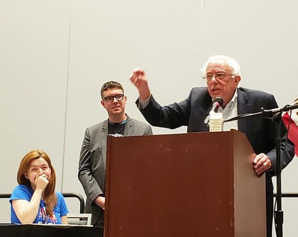 Kelsey & Cullen with Bernie Sanders at the Veterans Caucus