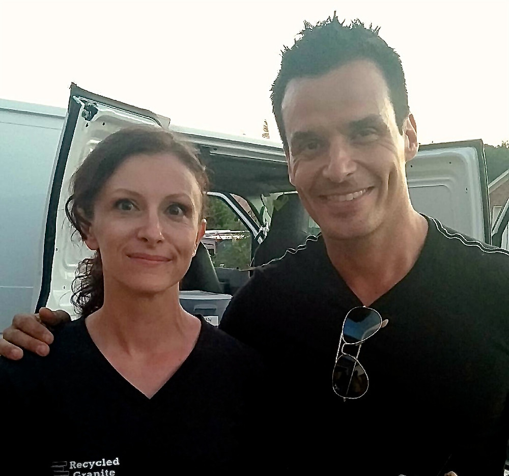 Antonio Sabato Jr. and Julie Olauson, of A&E Recycled Granite after filming Fix It & Finish It