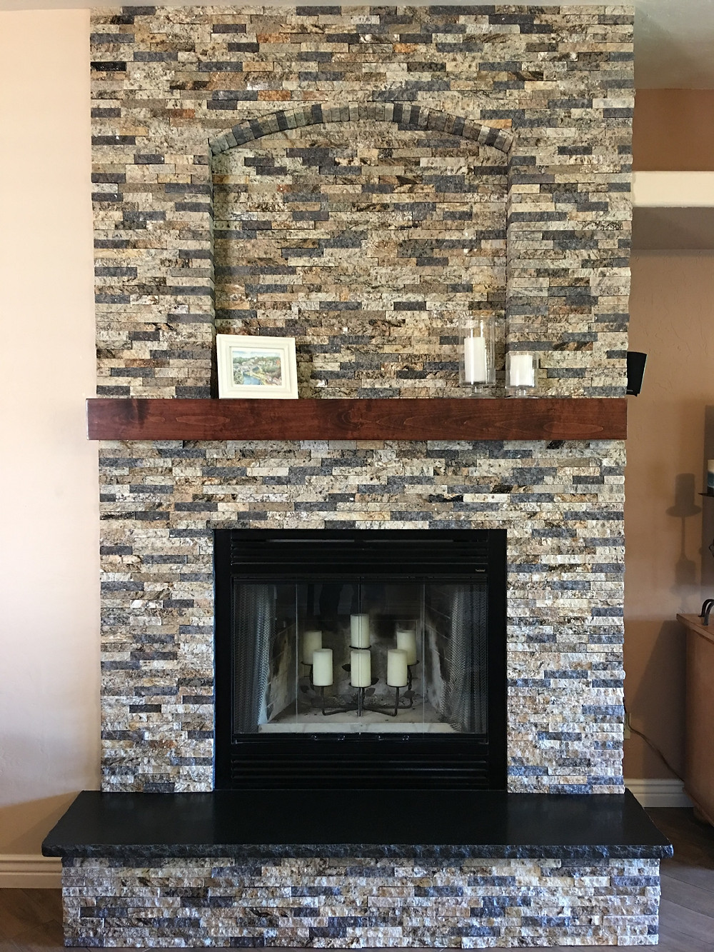 Venetian Blend Granite Fireplace