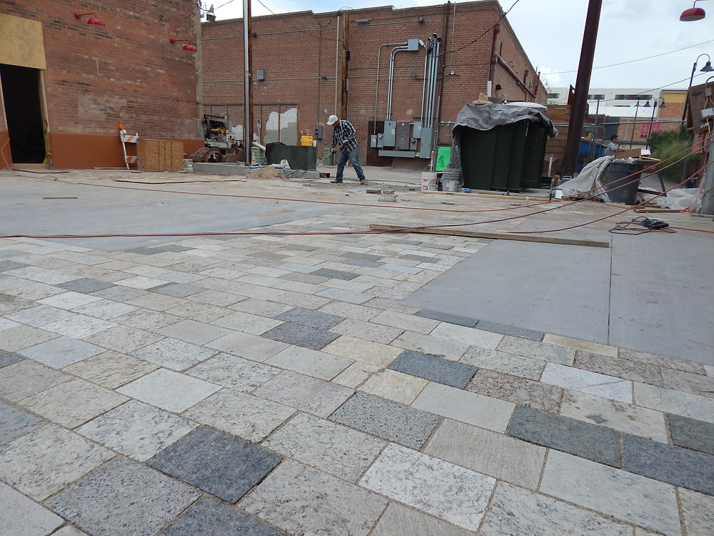 A&E Recycled Granite Pavers being installed