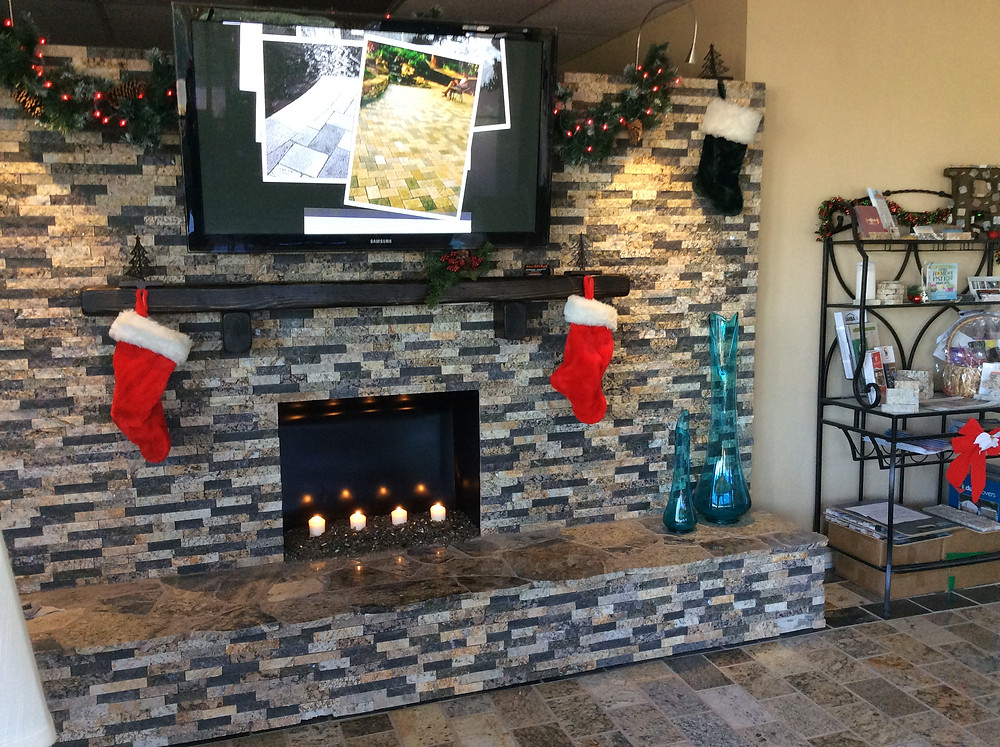 A&E Recycled Granite Showroom Fireplace