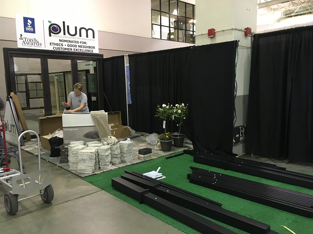 setting up our exhibit booth