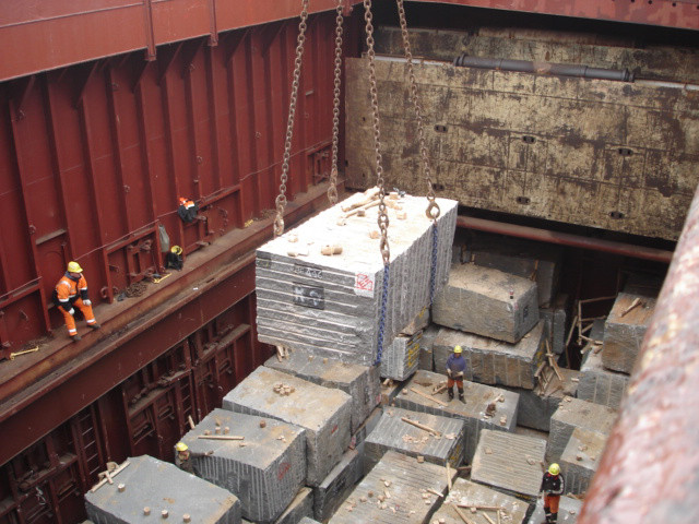 Granite slabs being loaded into a cargo ship