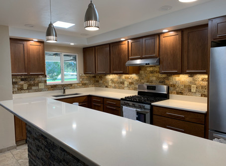 Kitchen gets amazing update with Recycled Granite subway tile backsplash