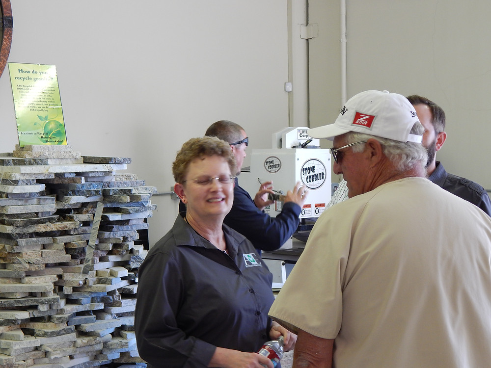 Owner Anita Dean explaining our recycling