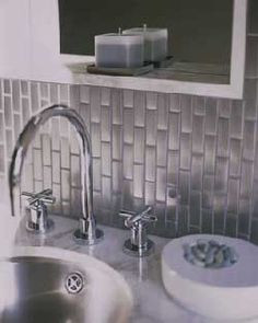 Metal Subway Tile in bathroom