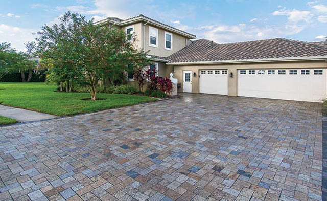 Recycled Granite Herringbone pattern driveway