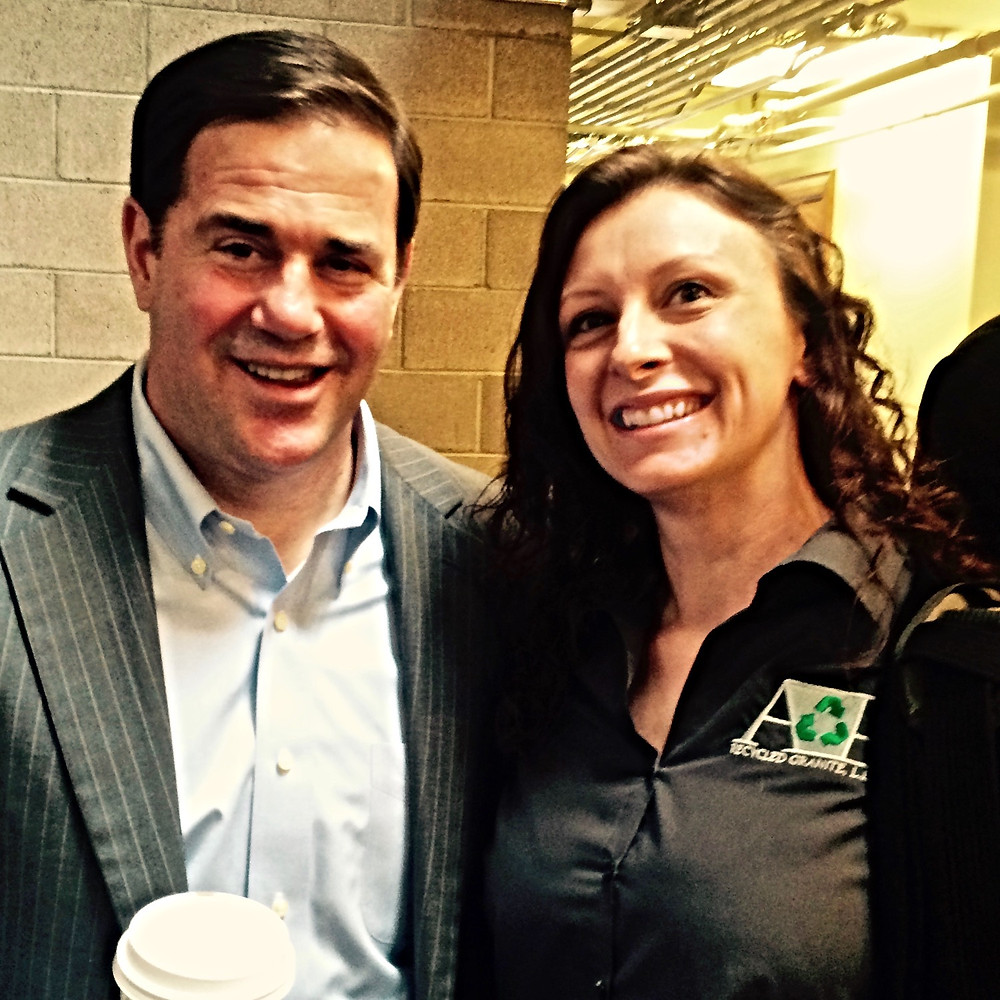 Doug Ducey and Julie Olauson, owner of A&E Recycled Granite