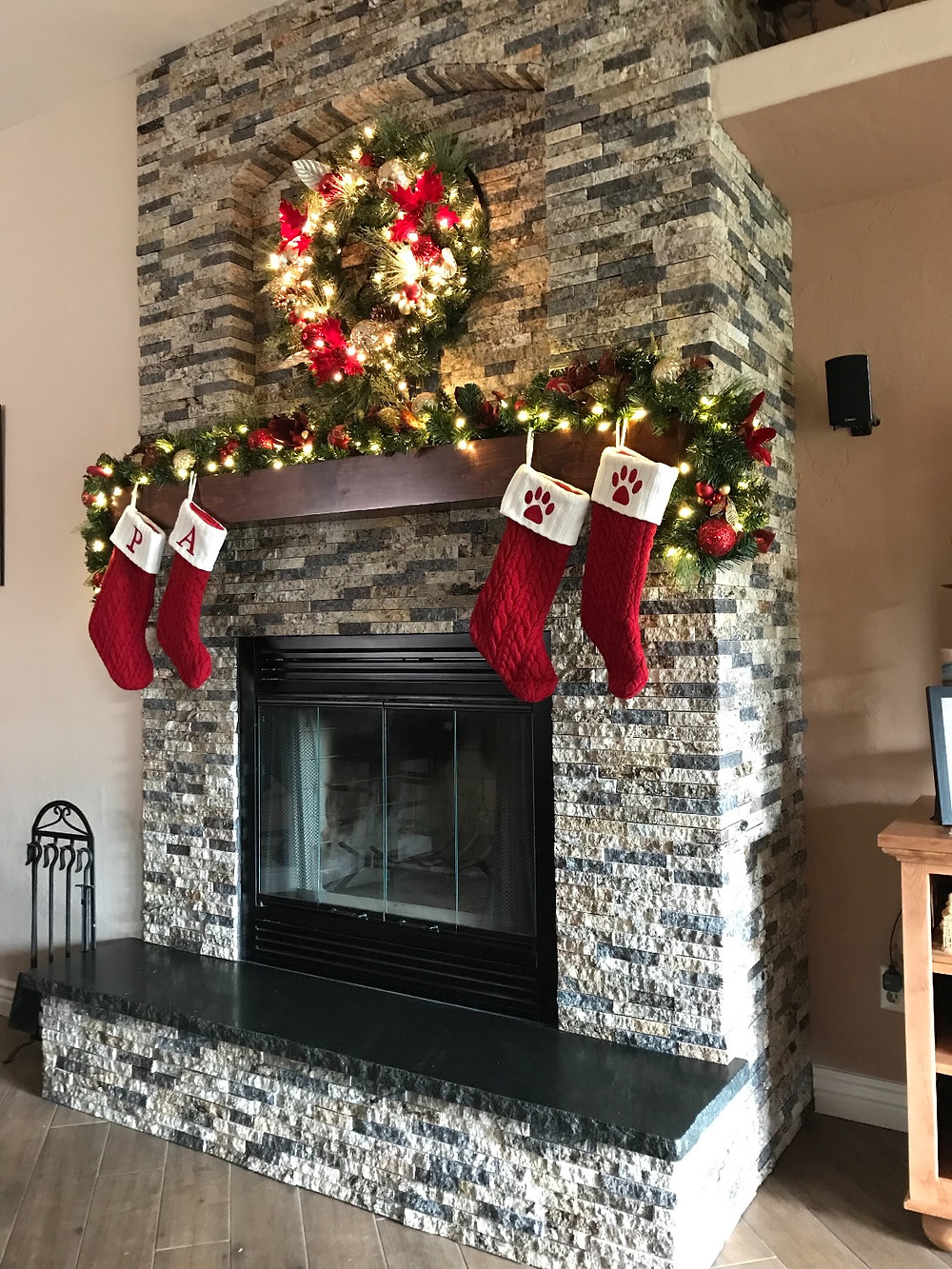 Recycled Granite fireplace