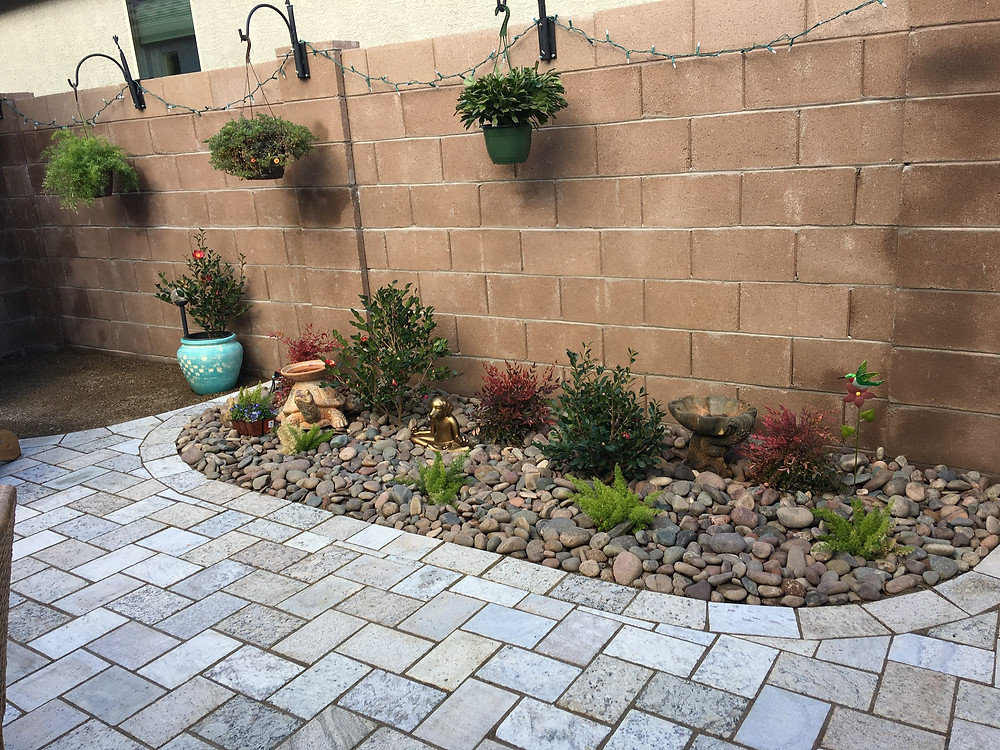 Recycled Granite pavers in a courtyard